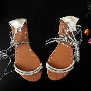 Qupid Rhinestone lace-up sandals